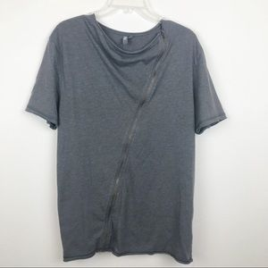 ASOS Short Sleeve Asymetrical Zipper Top Size M
